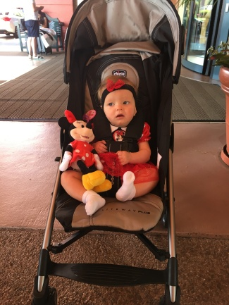 Brooklyn dressed as Minnie for her first day in Disney